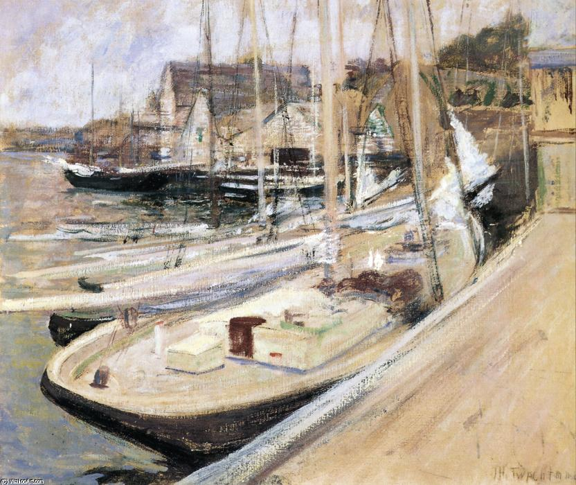 famous painting Fishing Boats at Gloucester of John Henry Twachtman
