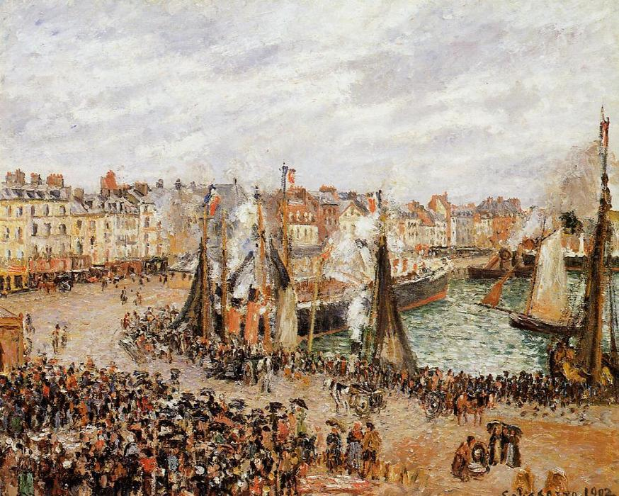 famous painting The Fishmarket, Dieppe: Grey Weather, Morning of Camille Pissarro