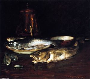 William Merritt Chase - Fish, Plate and Copper Pot