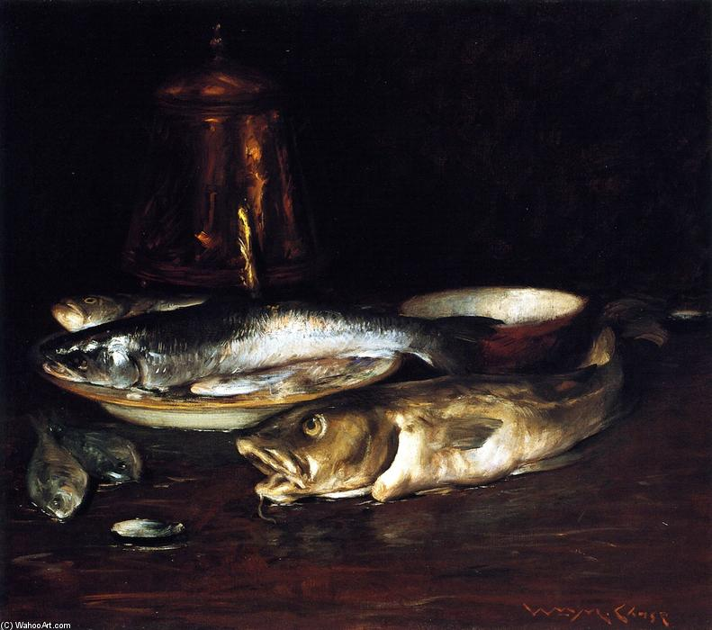 famous painting Fish, Plate and Copper Pot of William Merritt Chase