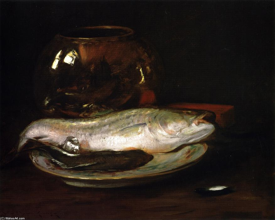 famous painting Fish Still Life (also known as Still LIfe - Fish and Big Bowl, Still LIfe - Striped Bass) of William Merritt Chase