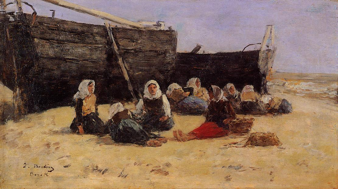 famous painting Fishwomen Seated on the Beach at Berck of Eugène Louis Boudin