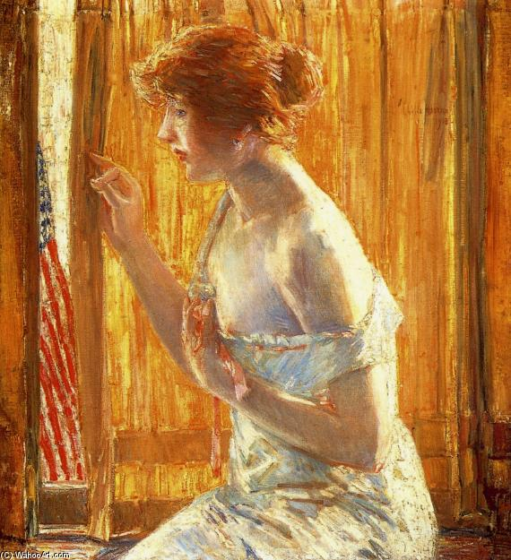 famous painting The Flag Outside Her Window, April 1918 of Frederick Childe Hassam