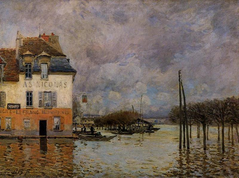 famous painting Flood at Port-Marly of Alfred Sisley