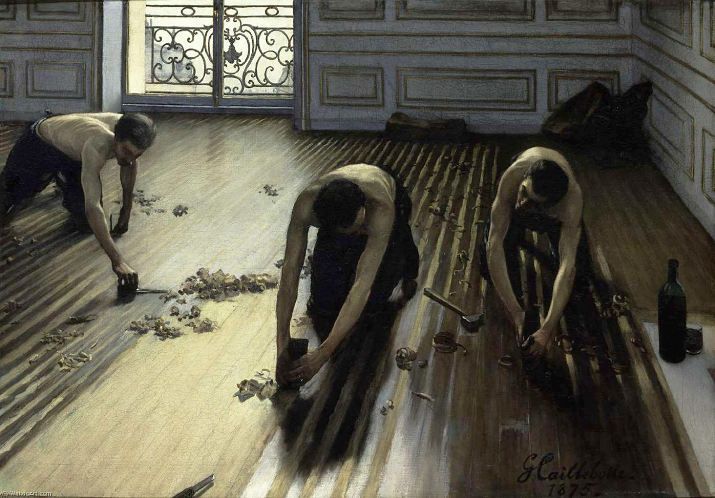 Buy Museum Art Reproductions Impressionism | The Floor Scrapers (also known as The Floor Strippers) by Gustave Caillebotte | TopImpressionists.com