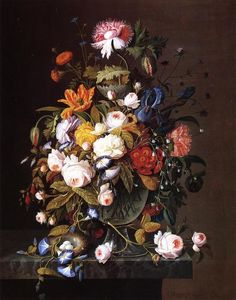 Severin Roesen - Floral Still Life with Bird's Nest