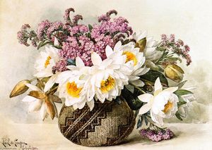 Raoul De Longpre - Floral with Indian Basket