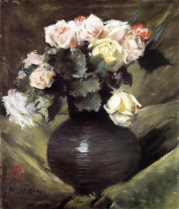 famous painting Flowers (also known as Roses) of William Merritt Chase