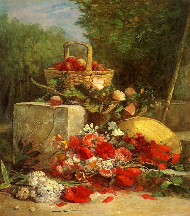 famous painting Flowers and Fruit in a Garden of Eugène Louis Boudin