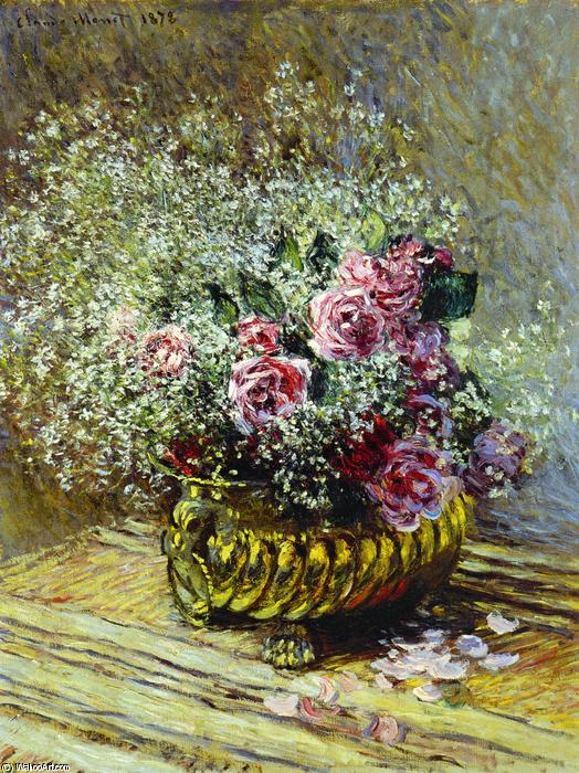 famous painting Flowers in a Pot (also known as Roses and Baby's Breath) of Claude Monet