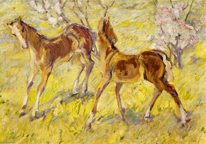 Franz Marc - Foals at Pasture (also known as Leaping Foals)