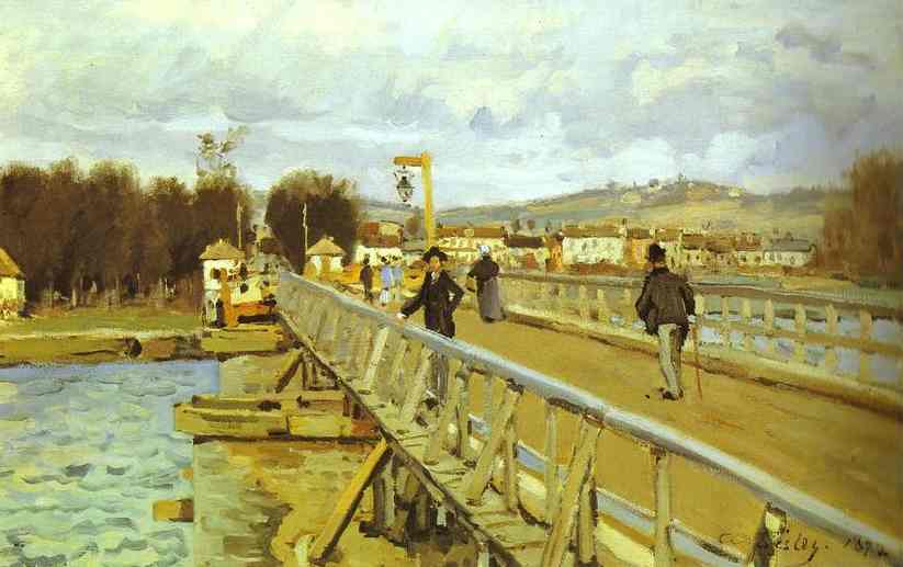 famous painting Footbridge at Argenteuil of Alfred Sisley