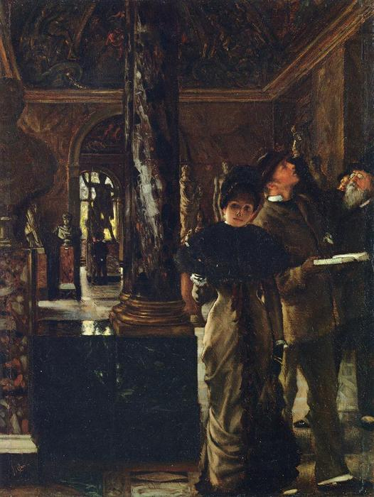 famous painting Foreign Visitors at the Louvre of James Jacques Joseph Tissot