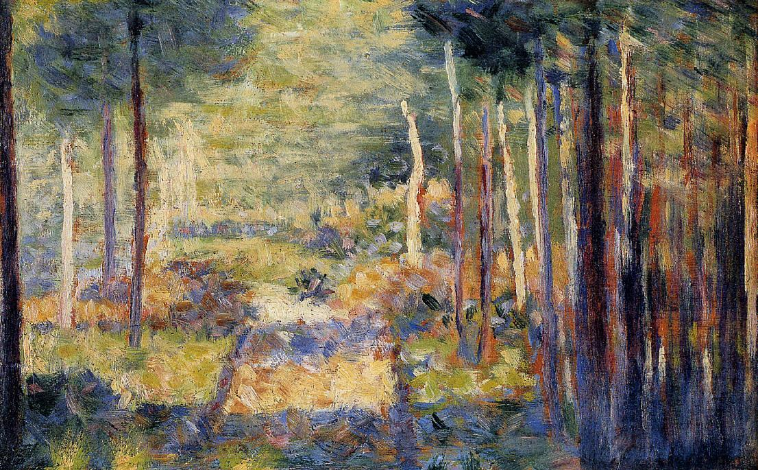 famous painting Forest Path, Barbizon of Georges Pierre Seurat
