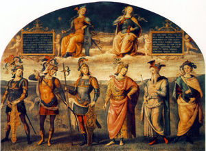 Vannucci Pietro (Le Perugin) - Fortitude and Temperance with Six Antique Heroes