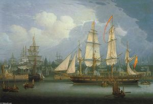 Robert Salmon - Four-Masted Clipper Ship in Liverpool Harbour