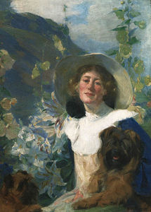 Frank Bramley - Friends (also known as The Artist's Wife Katherine And Her Dog)