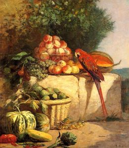 Eugène Louis Boudin - Fruit and Vegetables with a Parrot