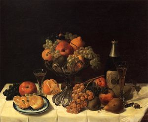 Severin Roesen - Fruit Still Life with Champagne Bottle