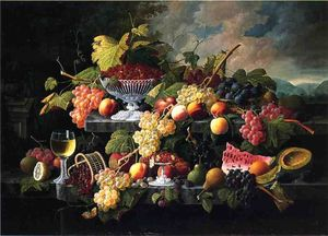 Severin Roesen - Fruit Still Life with Wine Glass in a Landscape