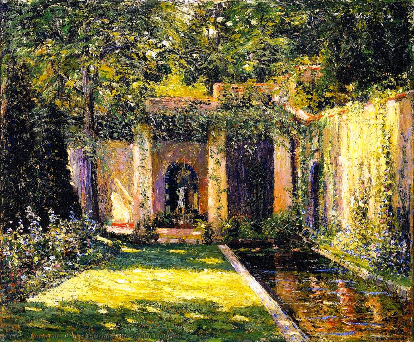 famous painting The Garden Umbrella of Ernest Lawson