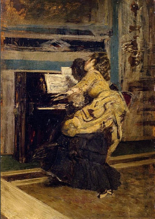 famous painting Gentleman at the piano of Giovanni Boldini