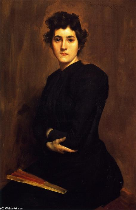 famous painting Girl in Black (also known as A Lady in Black) of William Merritt Chase
