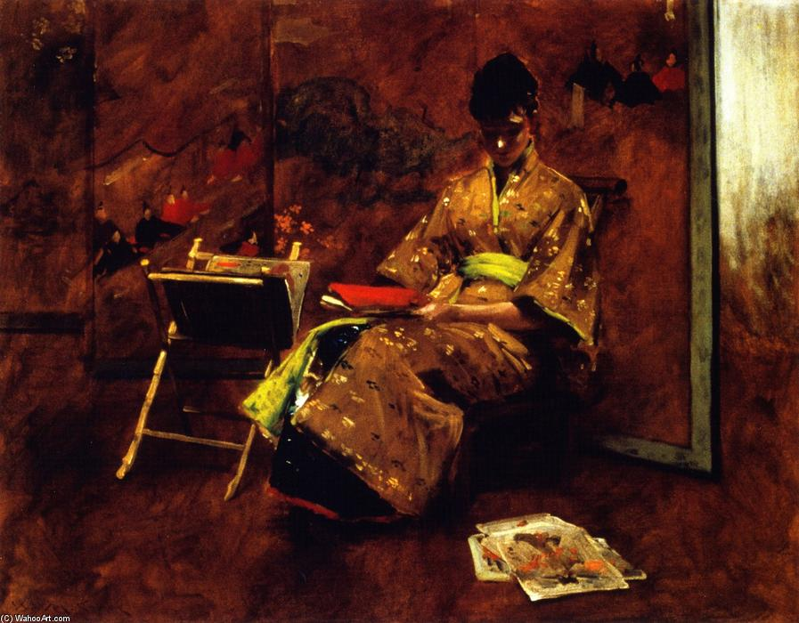 famous painting A Girl in Japanese Gown (also known as Girl in Japanese Gown, The Kimono) of William Merritt Chase