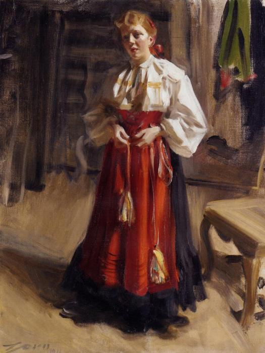 famous painting Girl in an Orsa Costume of Anders Leonard Zorn