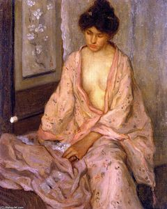 Frederick Carl Frieseke - Girl in Pink (also known as The Pink Kimono)