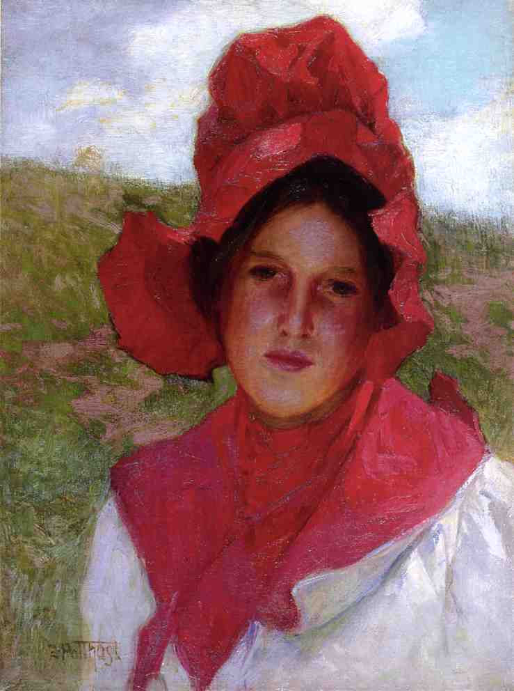 famous painting Girl in a Red Bonnet of Edward Henry Potthast