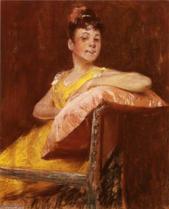 famous painting A Girl in Yellow (also known as The Yellow Gown) of William Merritt Chase