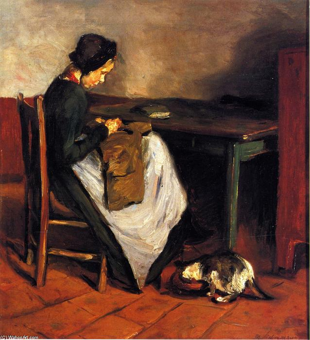 famous painting Girl Sewing with Cat - Dutch Interior of Max Liebermann
