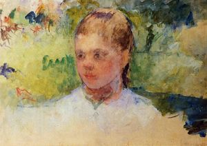 Mary Stevenson Cassatt - Girl's Head - Green Background