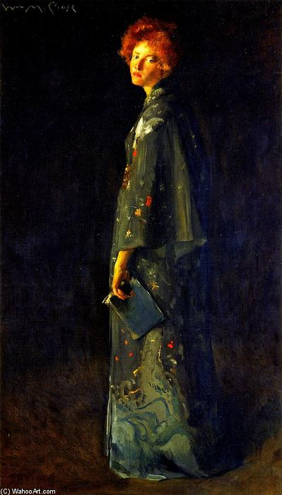 famous painting Girl with a Book (also known as A Girl) of William Merritt Chase