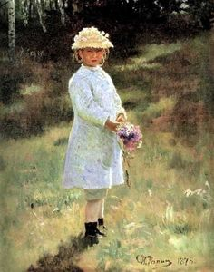 Ilya Yefimovich Repin - Girl with Flowers. Daughter of the Artist.
