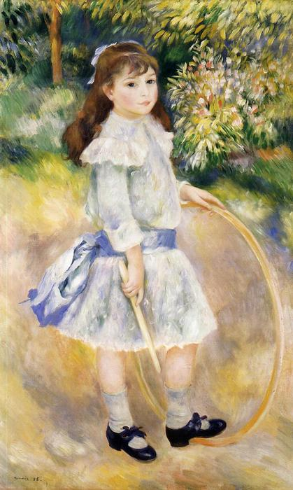 Order Paintings Reproductions Impressionism | Girl with a Hoop by Pierre-Auguste Renoir | TopImpressionists.com