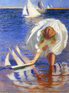 Edmund Charles Tarbell - Girl with Sailboat (also known as Child with Boat)