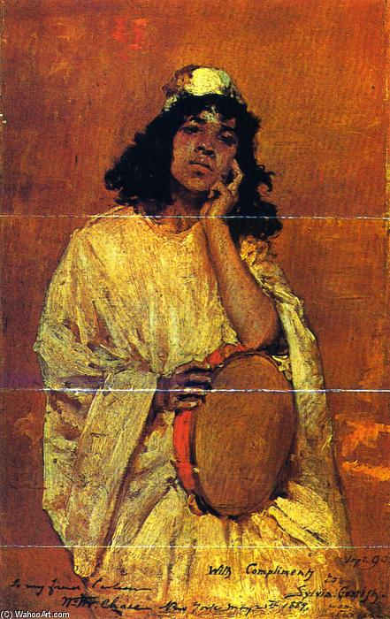 famous painting Girl with Tamborine (also known as The Tamborine) of William Merritt Chase