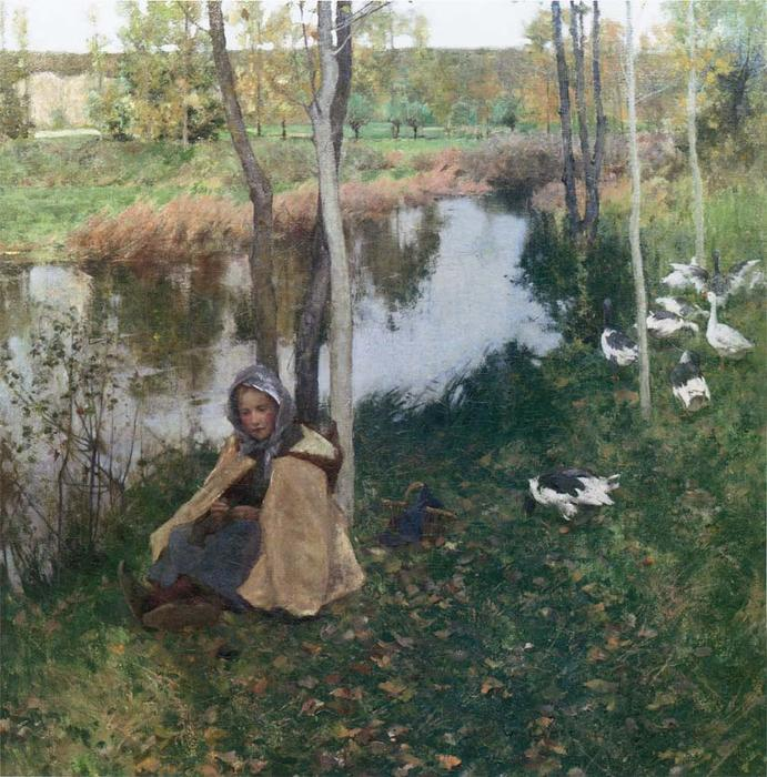 famous painting Goose Girl of Willard Leroy Metcalf