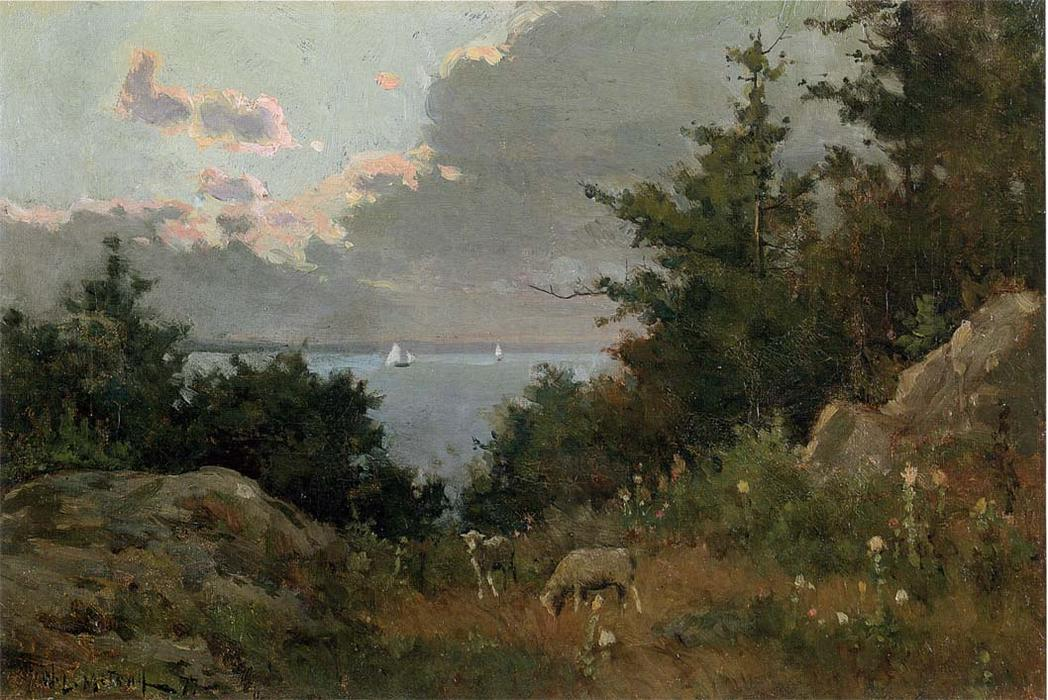 famous painting Grazing sheep on the coast of Maine of Willard Leroy Metcalf