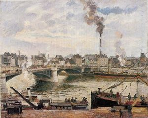 Camille Pissarro - The Great Bridge, Rouen (also known as The Pont Boieldieu, Rouen)