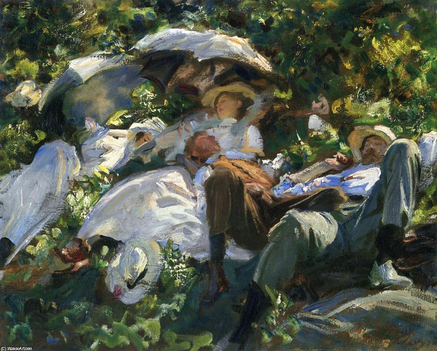 famous painting Group with Parasols (also known as A Siesta) of John Singer Sargent