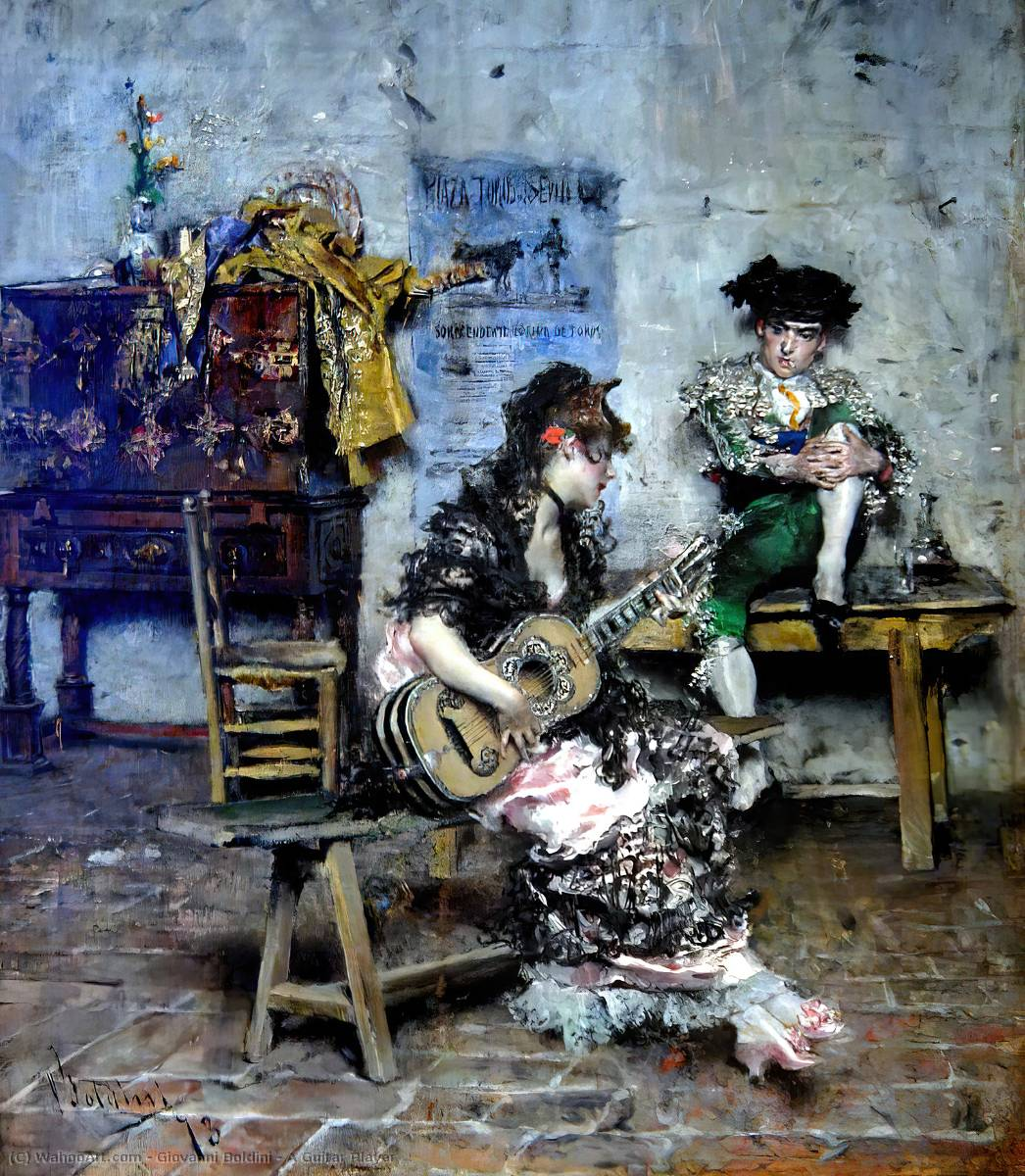 famous painting A Guitar Player of Giovanni Boldini