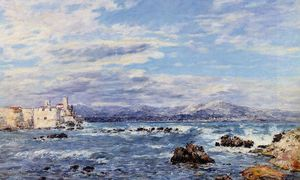 Eugène Louis Boudin - A Gusty Northwest Wind at Antibes