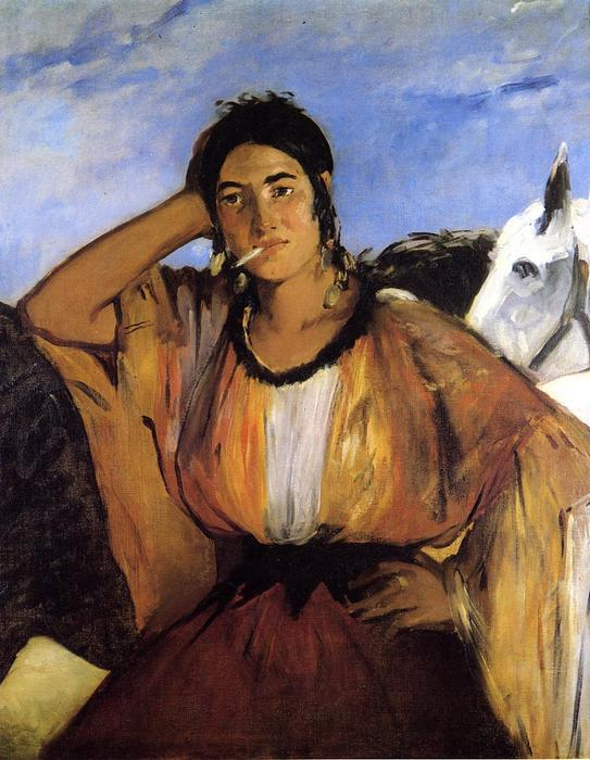 famous painting Gypsy with Cigarette (also known as Indian Woman Smoking) of Edouard Manet