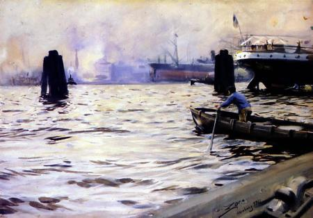 famous painting Hamburg Harbour of Anders Leonard Zorn