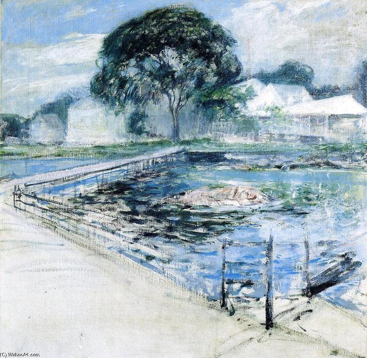 famous painting Harbor View Hotel of John Henry Twachtman