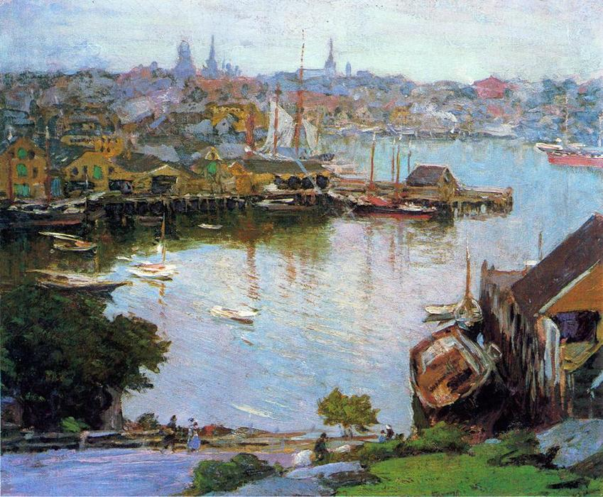 famous painting Harbor Village of Edward Henry Potthast