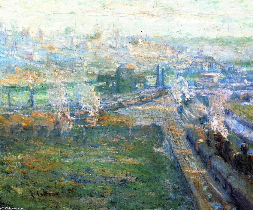 famous painting The Harlem River from High Bridge of Ernest Lawson
